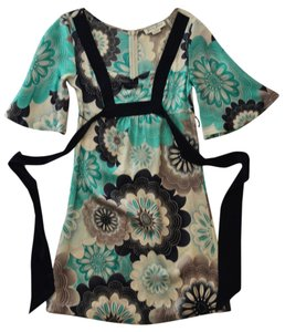Guess Silk Floral Turquoise Black Dress