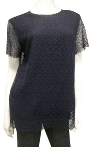 Raoul Lace Sheer Top Navy Blue