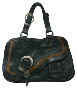 Christian dior Gaucho tote bag Satchel in Teal,tan & Siver