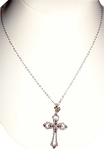 unknown Sterling Silver With Hematite Stones Cross, 18
