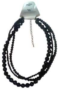 Worthington Geniune Black Crystal Choker 3 strand Necklace 16