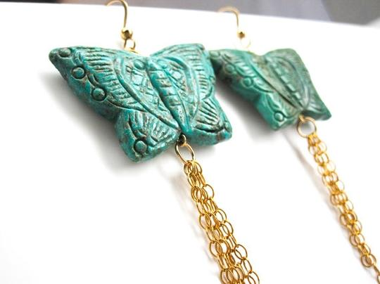Jewelry OD Carved Turquoise Butterfly Earrings