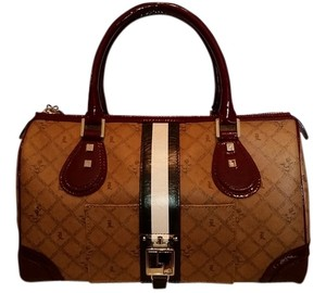 L.A.M.B. Satchel in Tan and Burgundy