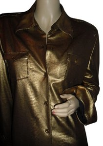 Diane Gilman Button Down Shirt golden snakeskin