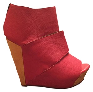 Messeca New York Leather Neon Wood Platform Coral Wedges