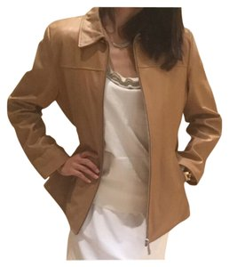 Damselle Lambskin Soft Buttery Genuine Camel Leather Jacket