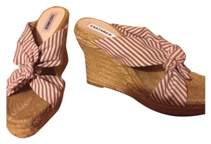 Castañer Burgandy and white stripe with tan wedge Wedges