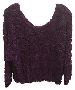 American Apparel Flower 3d Texture Jumper Pullover Aa Floral Top Eggplant