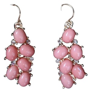 Pink Cluster Hoop Earrings