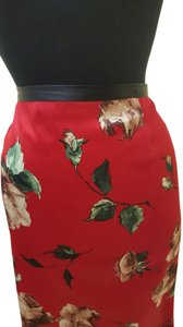 Dolce&Gabbana Size 10 Silk Red Skirt Red/multi