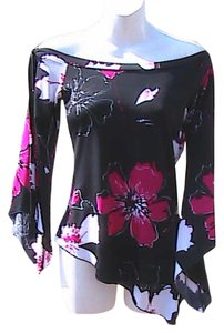 Tempted Asymmetrical Top Black Floral