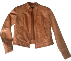 Kymo Leather Brownleather Cropped Light Brown Leather Jacket