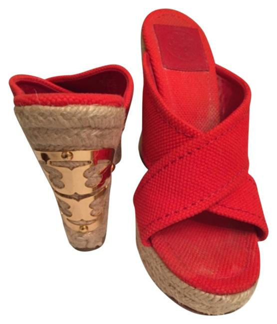 Item - Red Mules/Slides Size US 6 Regular (M, B)