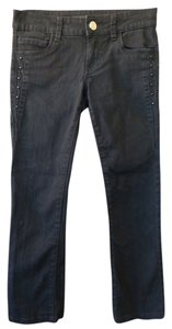 See Thru Soul Studded Rhinestone Low Rise Crop Straight Leg Jeans-Dark Rinse