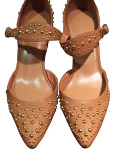 Cynthia Rowley Studded Ankle Strap Camel Pumps