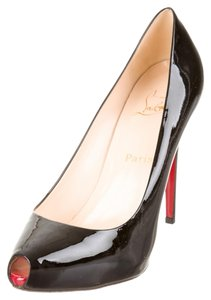 Christian Louboutin Patent Patent Leather Peep Toe Stiletto Platform Hidden Platform New 40 10 Sexy Red Sole Black Pumps