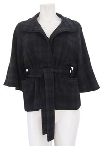 Barneys New York Belted Plait Pattern black / gray Jacket