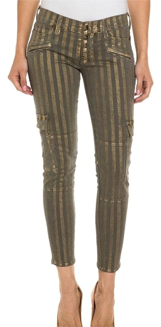 Item - Gold Nomad Meadow Green & Stripe Cargo Skinny Jeans Size 26 (2, XS)
