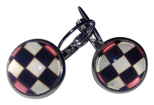 French Hook Cabochon Checkered Silver Earrings J2200