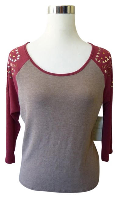 Milky Way Los Angeles Taupe Burgundy Baseball Jersey Metallic Hardware 3/4 Sleeve Top