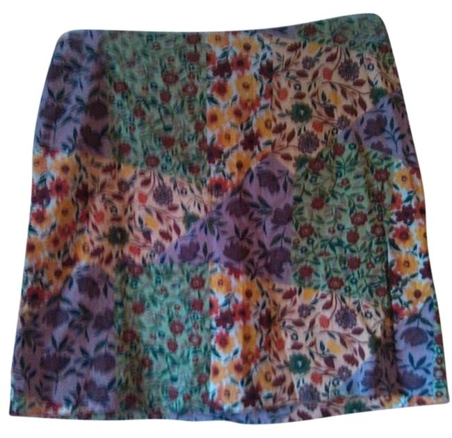 Item - Tan Red Yellow Green Geometric Floral Print Skirt Size 8 (M, 29, 30)