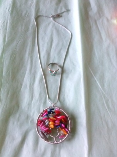 other *Free* Green Bow Ring - Jasper Chips Wire Wrapped Tree of Life Charm Necklace