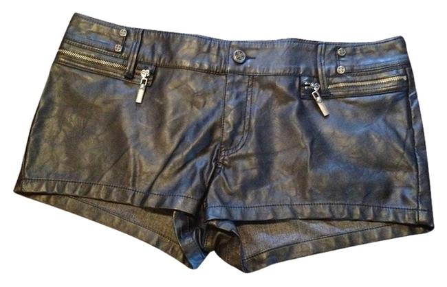 Affliction Halloween Leather Edgy Faux Mini/Short Shorts Black (sheer)