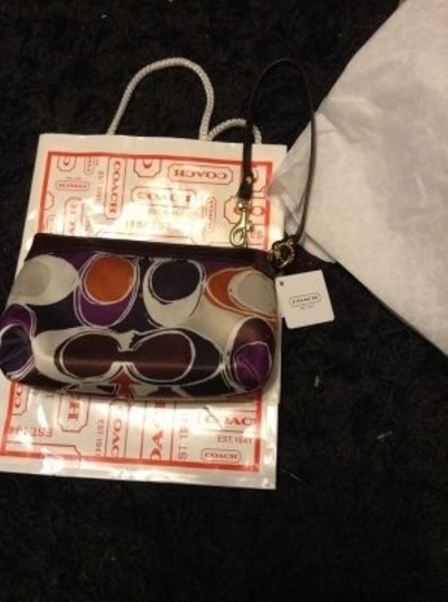 Coach Wristlet in Brown/purple/orange