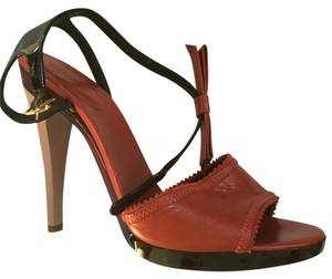 Chloé Open Toe High Heel Bow Burnt Red Pumps