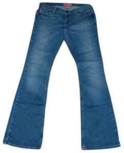 Hollister Size 9 Long Length. Stretch Boot Cut Jeans-Medium Wash