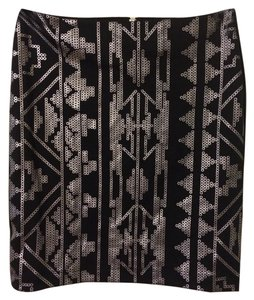 Forever 21 Bodycon Bodycon Bodycon Tribal Tribal Design 21 F21 Mini Clubbing Dancing Night Out Silver Skirt