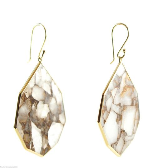 Ippolita IPPOLITA 18K Gold Rock Candy Large White Calcite Bronze Teardrop Dangle Earring