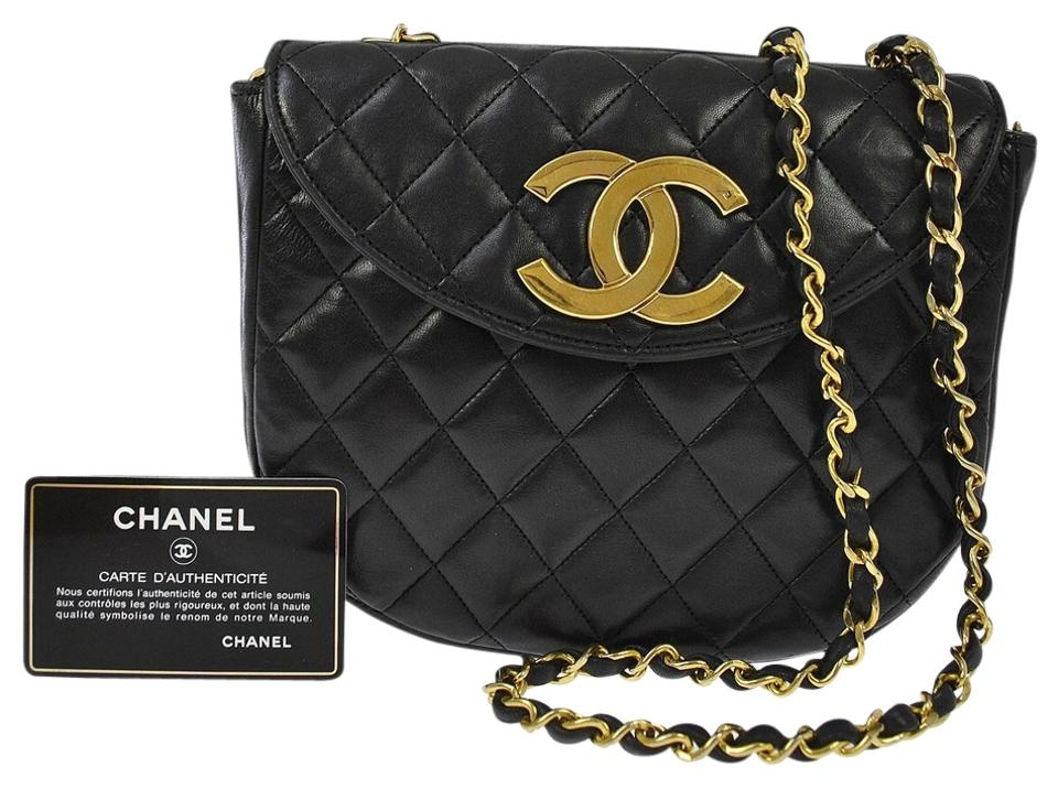 a4483e719daa Chanel Classic Flap Round Quilted Gold Cc Black Lambskin Leather Cross Body  Bag
