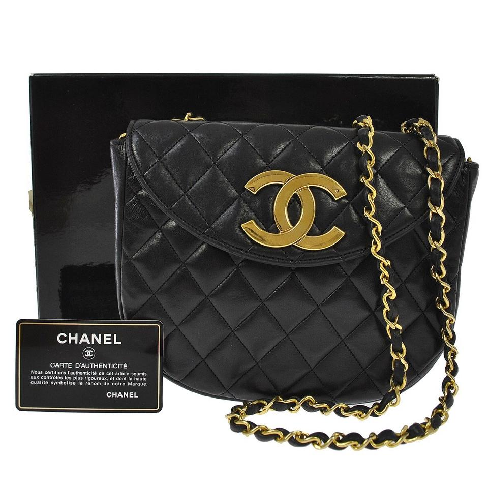6b91fa398595 Chanel Classic Flap Round Quilted Gold Cc Black Lambskin Leather Cross Body  Bag