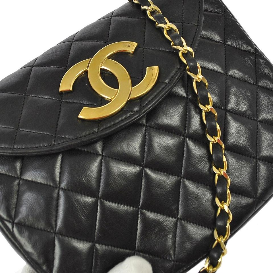 b23bfdd6844103 Chanel Classic Flap Round Quilted Gold Cc Black Lambskin Leather Cross Body  Bag - Tradesy