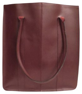 Lillian Vernon Leather Travil Beach Tote in Burgundy Red
