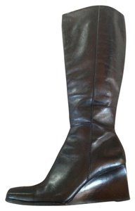 Diba Square Toe Wedge Dressy Black Boots
