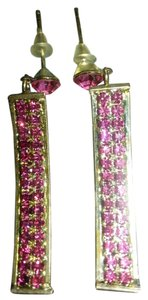 Lord & Taylor stunning lord and taylor pink sapphire crystal dangle earrings.