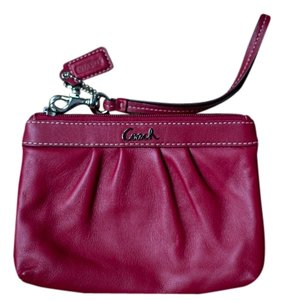 Coach Leather Wristlet in Red