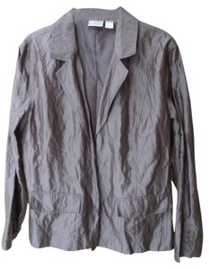 Chico's Open Front Lined Metallic Crinkled Look Brown / bronze Jacket