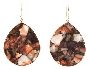 Ippolita IPPOLITA 18K Yellow Gold Red Calcite Bronze Matrix Large Teardrop Earrings