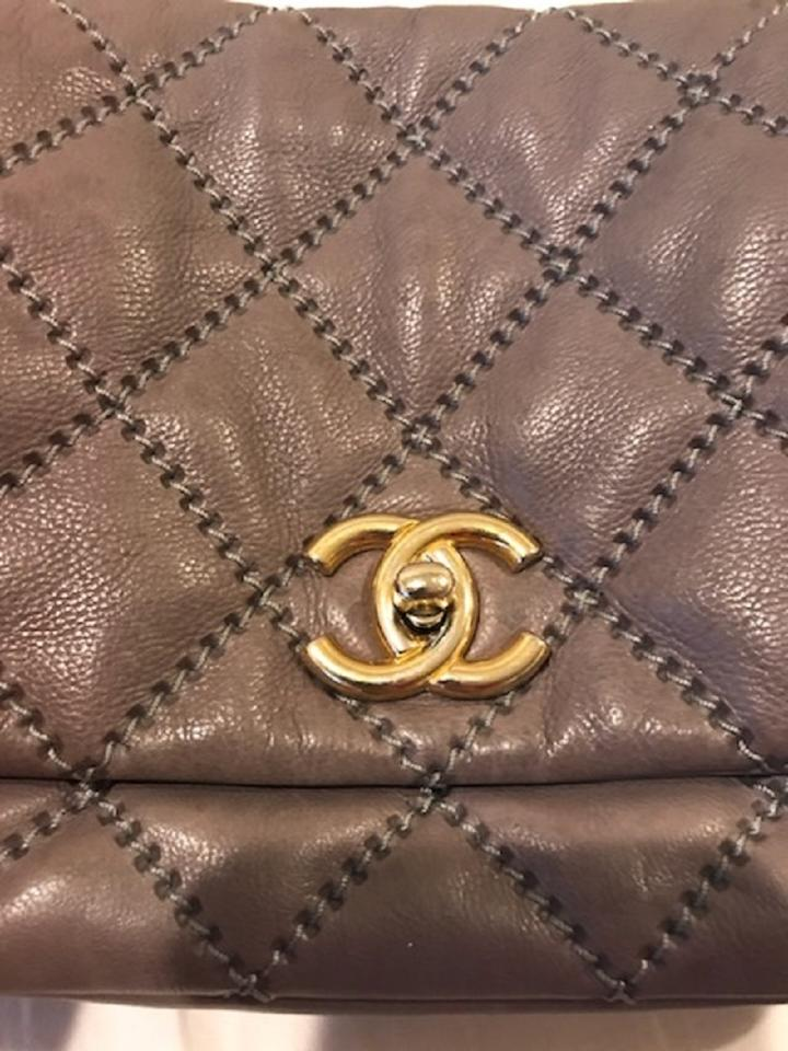 62969b84e99c Chanel Classic Flap Quilted Leather Retro Chain Accordion Gray ...
