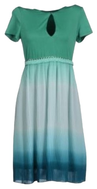 Acciaiao Pleated Lined Keyhole Dress