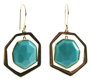 Ippolita IPPOLITA 18K Yellow Gold Modern Rock Candy Turquoise Frame Drop Dangle Earrings