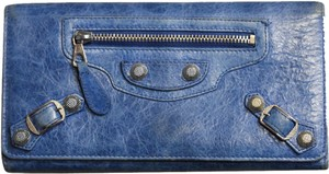 Balenciaga Balenciaga Blue Leather Long Stud Wallet