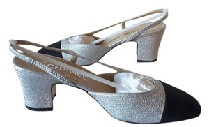 Chanel Slingbacks Silver Pumps