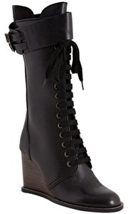 See by Chloé Wedge Lace Up Black Boots