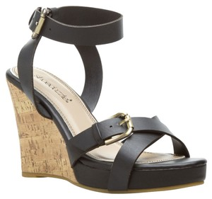 ShoeDazzle Cork Ankle Strap Spring Black Wedges