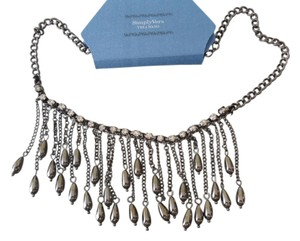 Vera Wang SIMPLY VERA WANG NWT Fringe Bib Design Gray Faceted Beads & Crystals Necklace - Fabulous!!