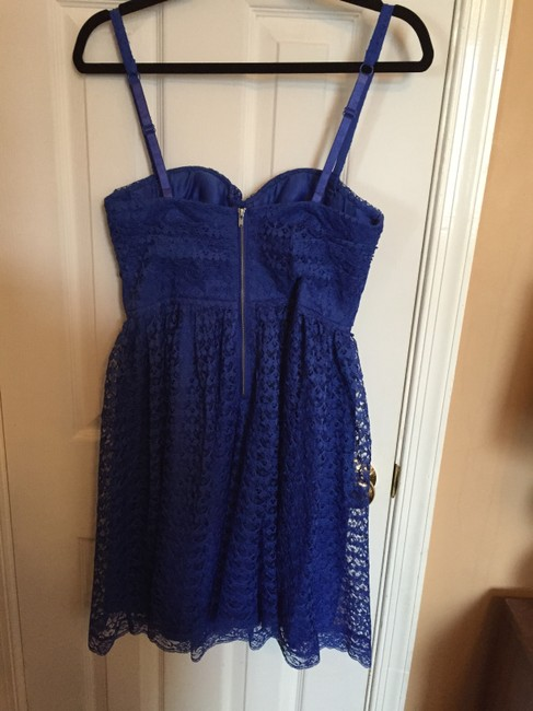 Moda International Cobalt Lace Sweetheart Flare Dress